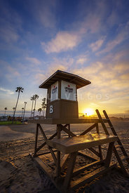 Newport Beach CA Lifeguard Tower B Sunrise Photo