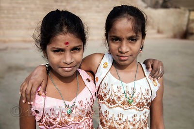 Portrait of two sisters in Varanasi, India.