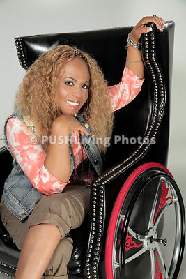 Woman in a wheelchair in studio session