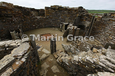 Interior of the Broch of Gurness, an Iron-Age stone defensive tower, West Mainland, Orkney, United Kingdom