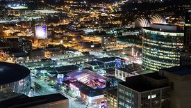 Tight Close Up: Night Lights Over Kansas City's Sprint Center, Power & Light Mall, & Kaufman Music Center