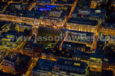 Aerial view of Savile Row and Regent Street at night, London