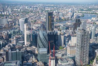 Aerial view of  London Financial District