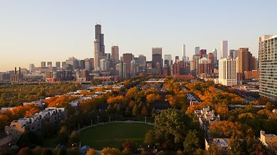 Wide Shot: South View Of A Sunset Over Chicago's Skyline During Autumn