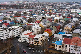 An array of colorful rooftops as seen from the Hallgrímskirkja Church in Reykjavik, Iceland