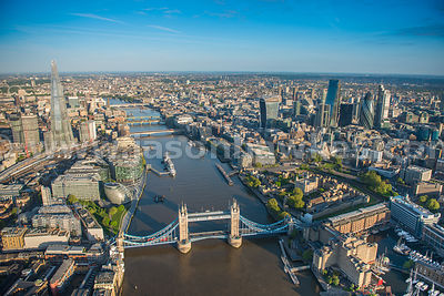 Aerial view Tower Bridge River Thames and City of London.