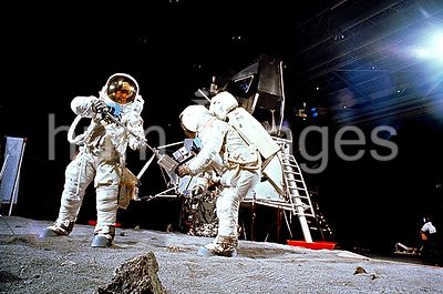 (22 April 1969) --- Two members of the Apollo 11 lunar landing mission participate in a simulation of deploying and using lun...