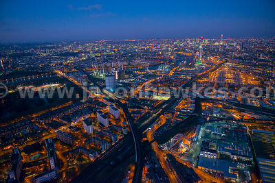 Aerial view of Battersea at night, London