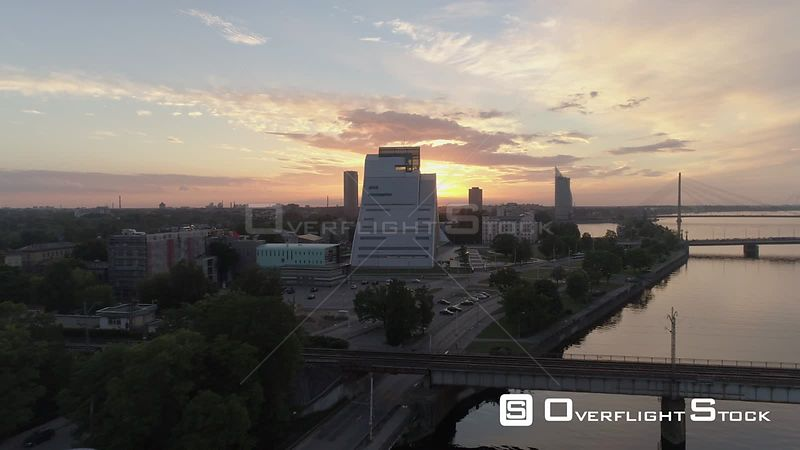 Aerial drone flyby shot of Latvian National Library in Riga