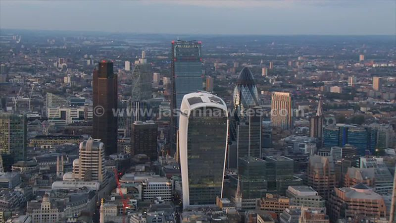 Aerial footage of London City of London skyline with 20 Fenchurch Street.