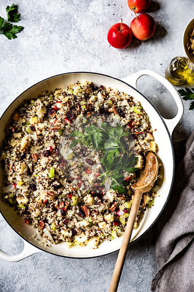 quinoa and apple stuffing in a mixing bowl