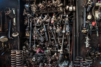 A classic mechanic's shop in Chor Bazaar, also known as the Thieves Market, Mumbai, India.