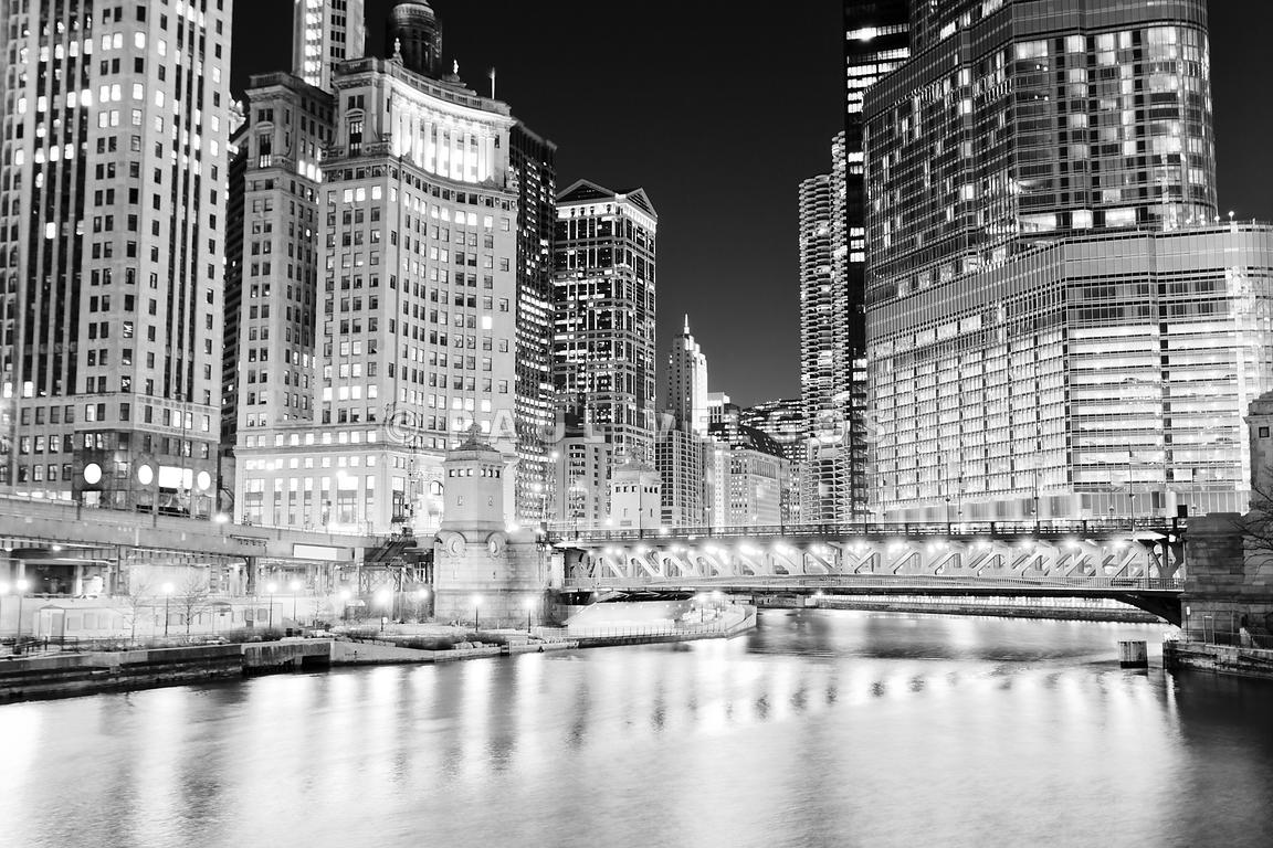 Chicago Cityscape at Night at DuSable Bridge