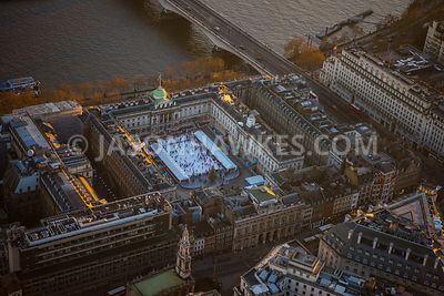 Aerial view of London Victoria Embankement at Waterloo Bridge, Strand.