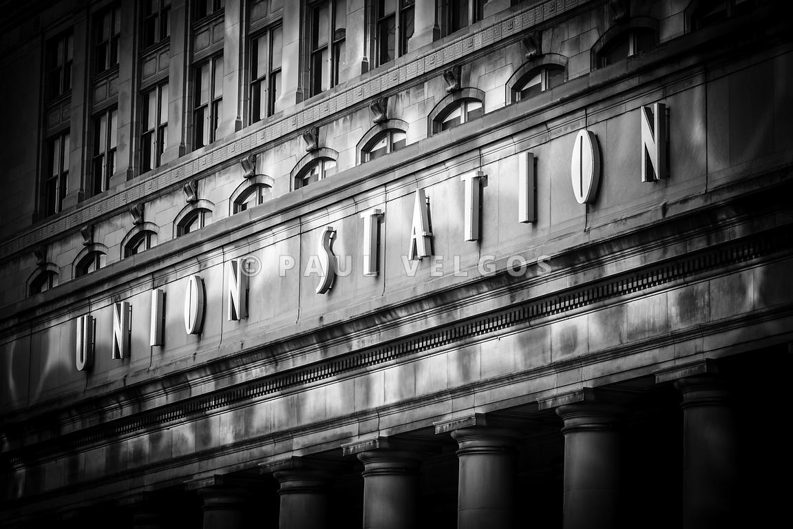 Union Station Chicago Sign in Black and White