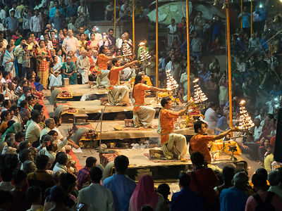 Evening aarti at the Ganges