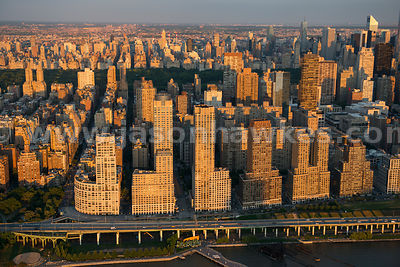 Aerial view of Lincoln Square, an area of Upper West Side Manhattan
