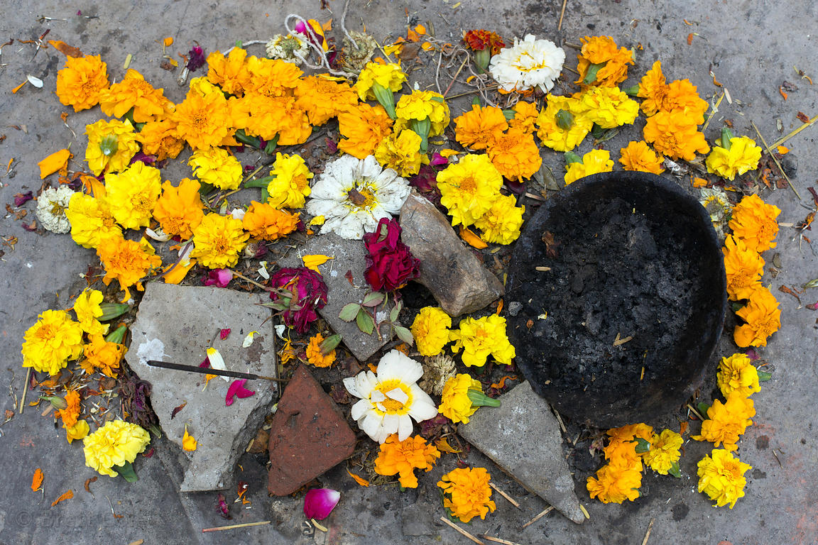 Garlands and other tools of prayer in a small temple, Badlya, Rajasthan, India