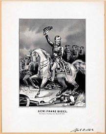 Genl. Franz Sigel at the battle of Pea-Ridge, Ark. March 8th, 1862