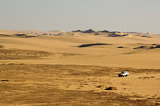 vehicle in the Great Sand Sea, Western desert, near Siwa oasis, Egypt