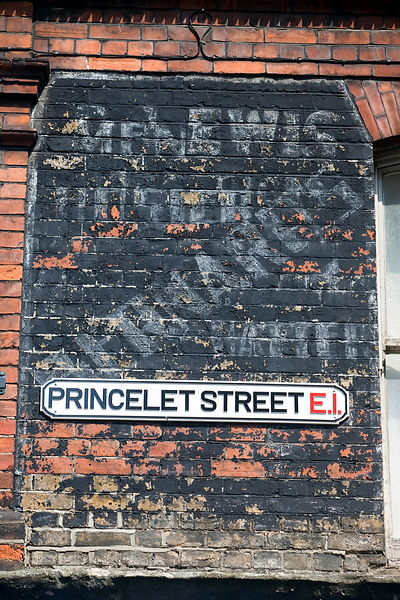 UK - London - An old street sign for Princelet Street, Spitalfields