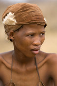 Naro bushman (San) woman portrait, Central Kalahari