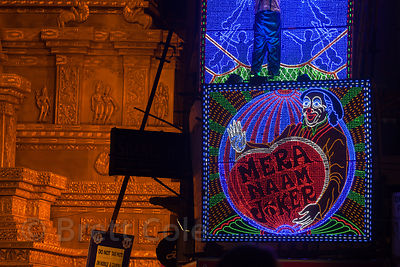 Elaborate LED displays delight crowds visiting pandals during the Durga Puja festival in Gariahat, Kolkata, India.