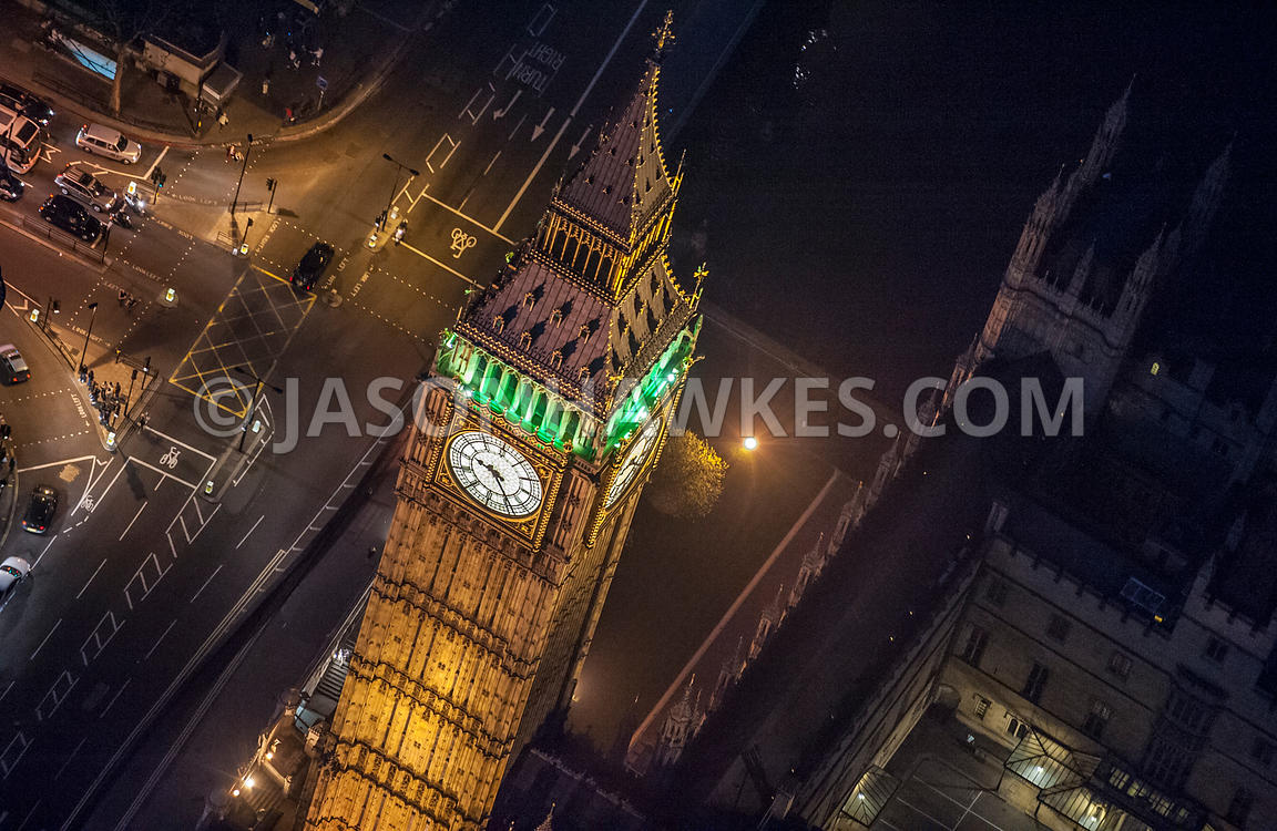 Aerial view of Houses of Parliament, Big Ben at Night, London