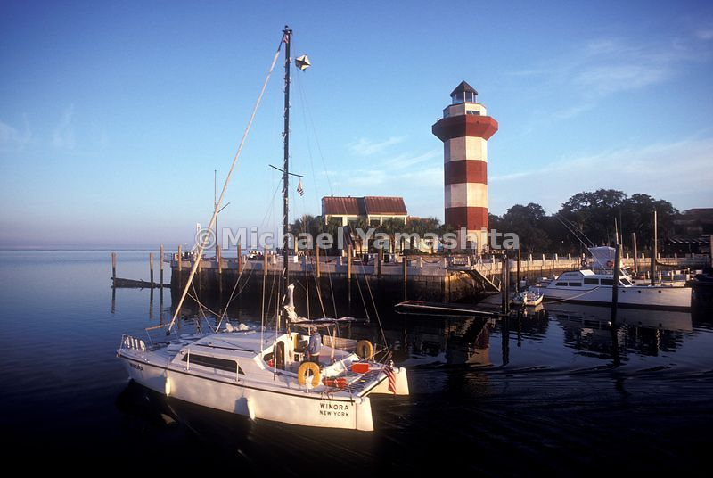 Boats and the lighthouse at Hilton Head Island.