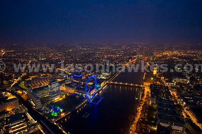 Aerial View of The River Thames at night, London