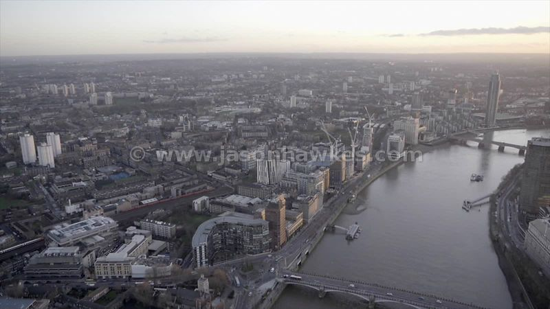 Aerial footage of Vauxhall, London