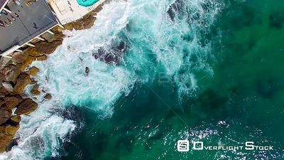 Overhead aerial view of Bondi Beach pools  Sydney, Australia