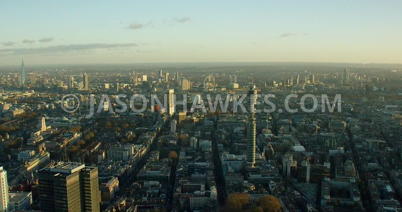 Aerial footage of the BT Tower, Fitzrovia