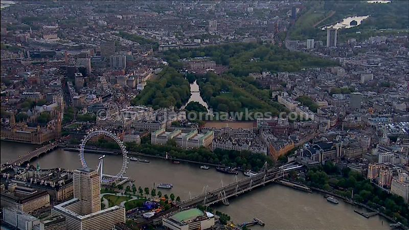 Aerial footage of Buckingham Palace, London, England, UK