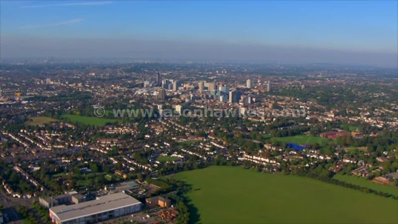 Aerial footage across Croydon, London