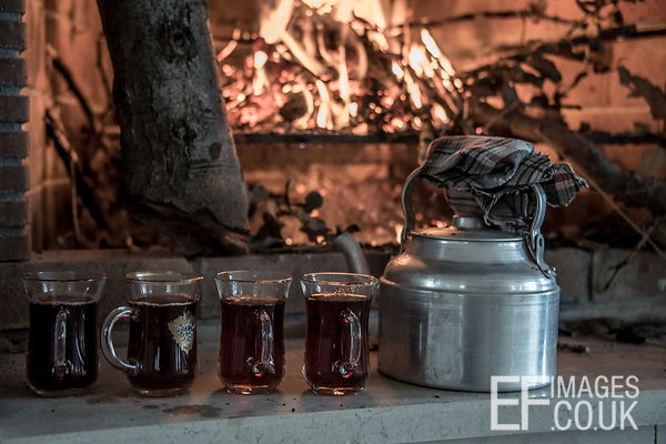 Kurdish Tea On An Open Hearth