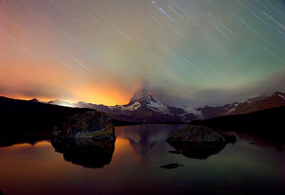 Matterhorn, lake, thunderstorm at night