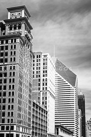 Chicago Buildings Black and White Photo