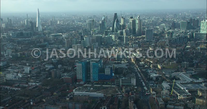London Aerial footage, Royal London Hospital with City of London skyline.