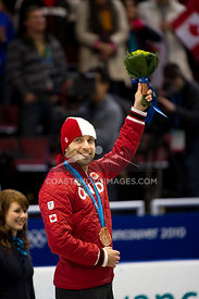 Feb 26, 2010: Pacific Coliseum, Vancouver, BC. Francois-Louis Trembley wins the Bronze medal in the Mens 500m sprint event in the Short Track Speed Skating at the Vancouver 2010 Winter Olympics. Photo by Scott Brammer/coastphoto.com