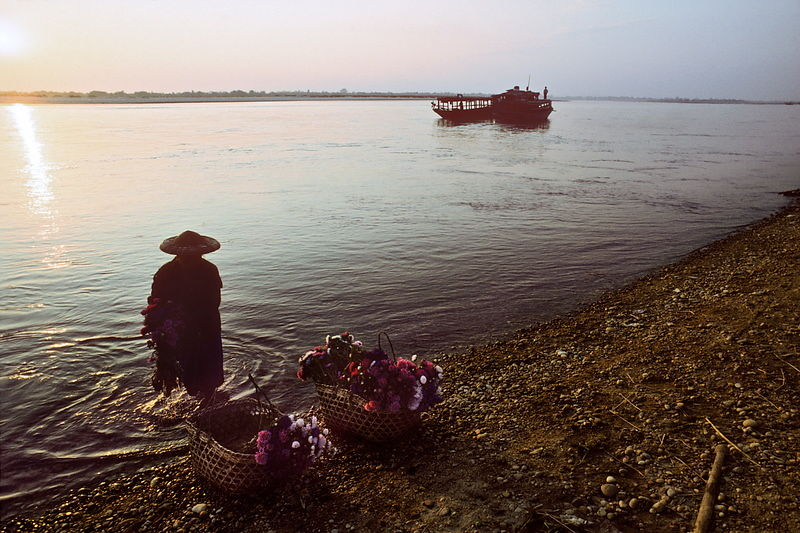 Flower seller and ferry