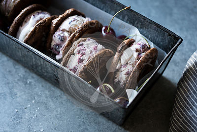 Roasted cherry ice cream sandwiches with salted double chocolate buckwheat cookies (gluten-free)