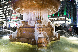 A frozen fountain at Bryant Park Winter village in Manhattan, New York City