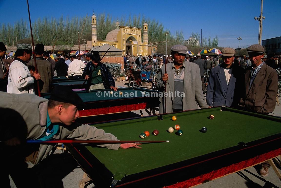 The market in Kashgar is not just buying and selling: the billiard tables are a center of attraction.