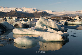 Ice fornations near Jokulsarlon Ice Lagoon on Iceland's southern coast.