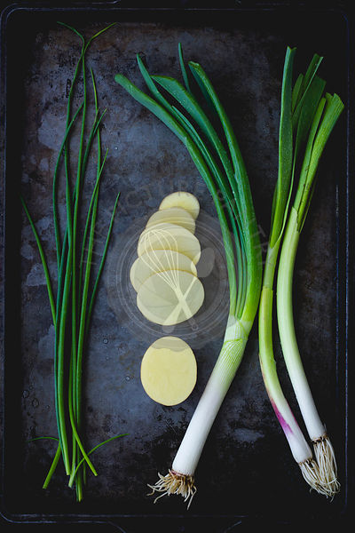 Chives, spring onion and potatoes