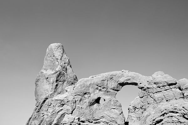 TURRET ARCH ARCHES NATIONAL PARK UTAH BLACK AND WHITE