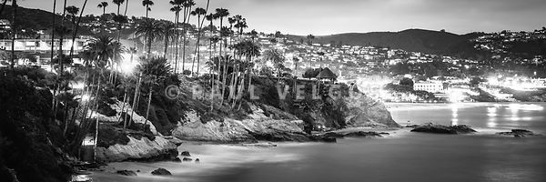 Laguna Beach at Night Black and White Panorama Picture