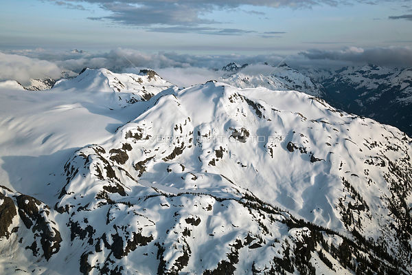 Aerial Photography of Snowy Coast Mountains of British Columbia