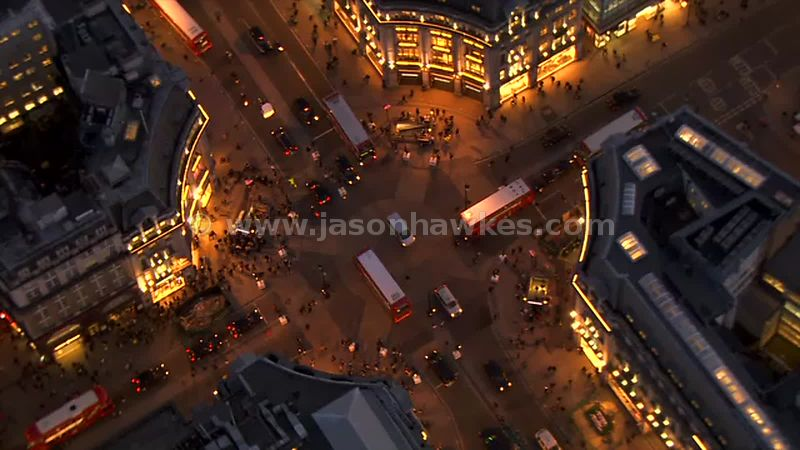 Aerial footage of Oxford Circus at night, London